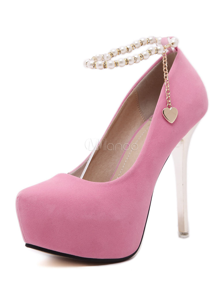 e2547ba945fb Pink Platform Pumps High Heel Round Toe Pearls Ankle Strap Stiletto Heel  Shoes For Women- ...