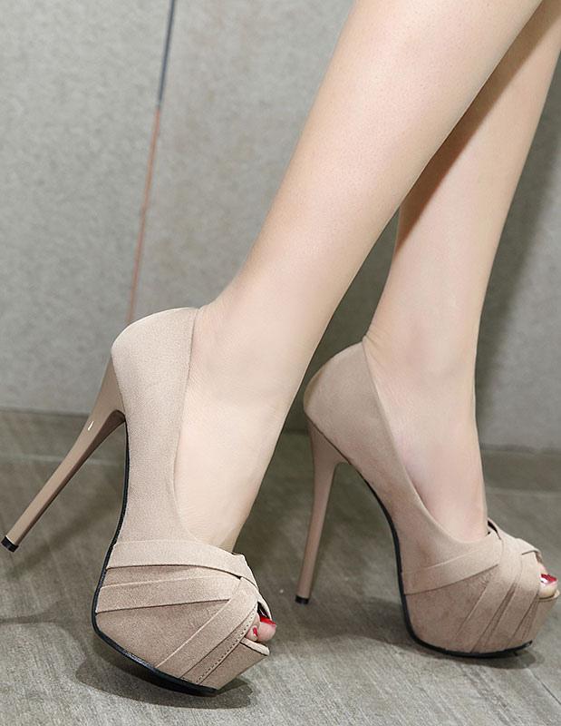 Zapatos Peep toe de felpa Color liso estilo moderno i9uU2