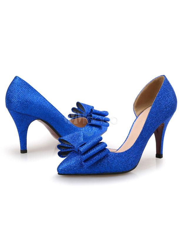 Zapatos de tacón de tela brillante azul color liso con lazo ZHYGZrVyF