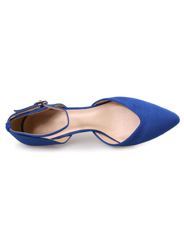 ef5c328fbcd Blue Pumps Shoes Suede Kitten Heel Pointed Toe Evening Shoes With Ankle  Strap-No.