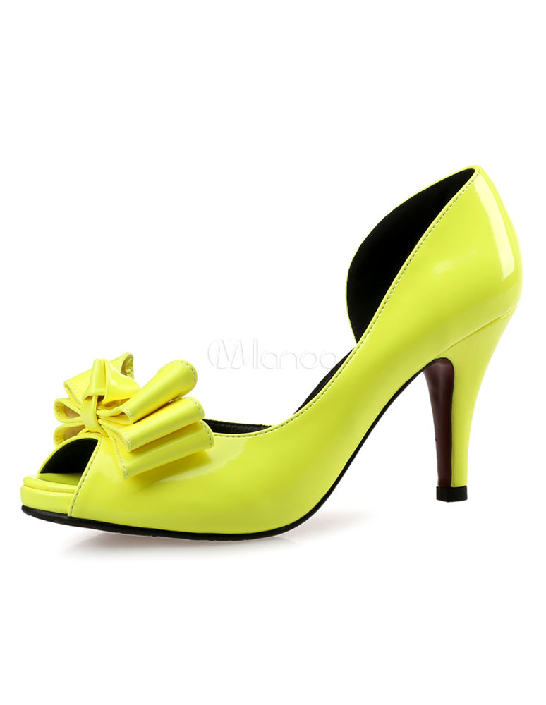 Peep Toe Pumps High Heel Women's Yellow Green Bowed Slip On Shoes
