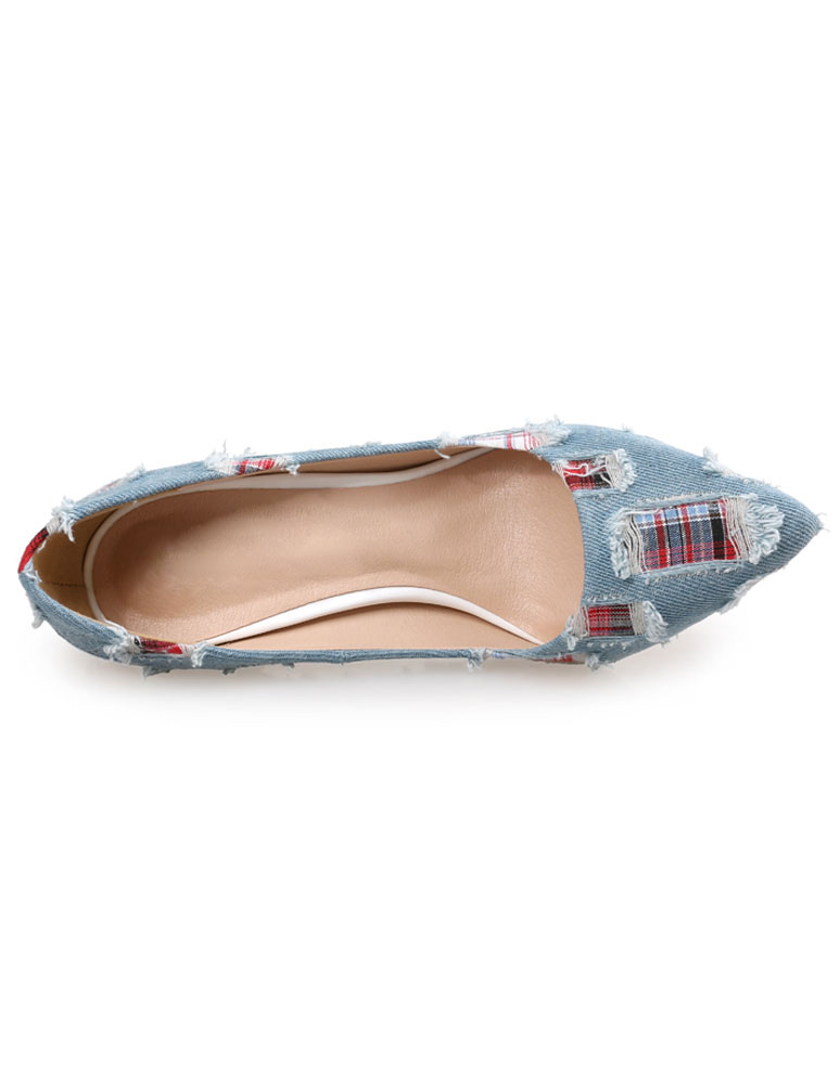 Zapatos de tacón de tela color liso estilo gastado GE8sgNE