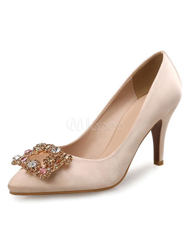 Buy Apricot Mother Of The Bride Shoes High Heels Satin Pointed Toe Rhinestone Beaded Slip On Pumps for $30.39 in Milanoo store