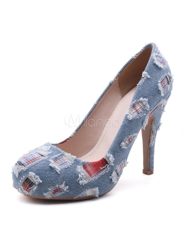a8d37a13ba1 Women s Platform Pumps High Heel Light Blue Denim Patched Round Toe Slip On  Platforms- ...