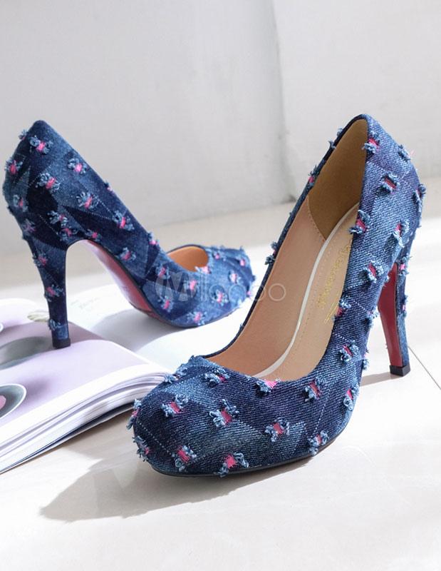 9c0389766a4a ... Women s Platform Pumps High Heel Light Blue Denim Patched Round Toe  Slip On Platforms- ...