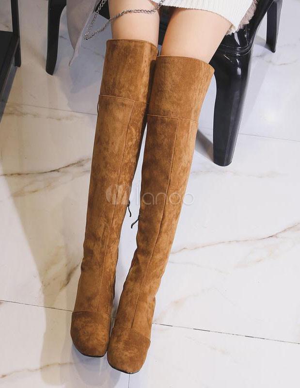Botas sobre la rodilla Piel sintética Color liso con cordones estilo moderno IOLKO - Zapatillas de bádminton para niña beige-us5.5 / eu36 / uk3.5 / cn35 IOLKO - Zapatillas de bádminton para niña white-us8 / eu39 / uk6 / cn39 Textiles / Home ZQ los zapatos de las mujeres del resorte talones/verano/oto?o/dedo del pie cuadrado del partido talones&?noche/vestido/hebilla  almond-us6/eu36/uk4/cn36 WHiSW