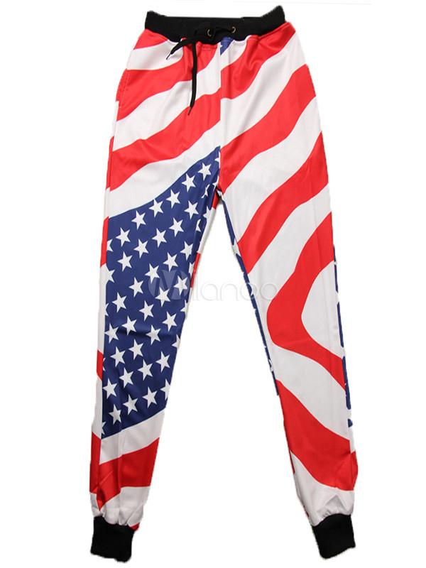 Buy Men's Jogger Pants Flag Printed Drawstring Waist Elastic Sweatpants for $14.99 in Milanoo store