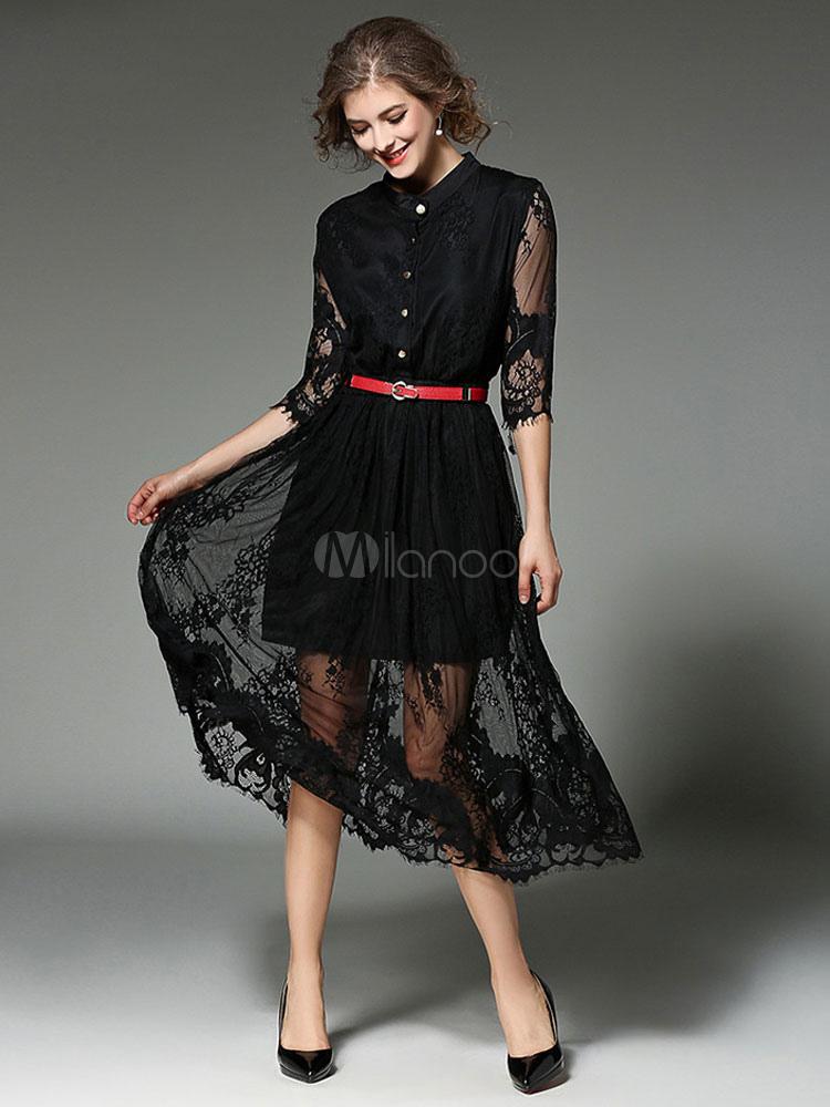 best website 3669a 2193f Tierd lunga camicia Semi trasparenti mezze maniche donna pizzo bianco  vestito con cintura