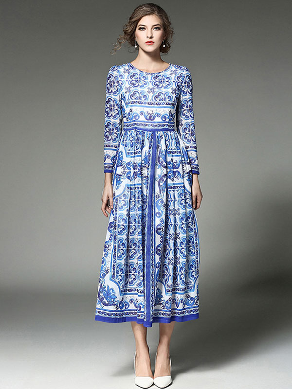Buy Blue Maxi Dress Chiffon Round Neck Long Sleeve Pleated Printed Long Dress for $44.99 in Milanoo store