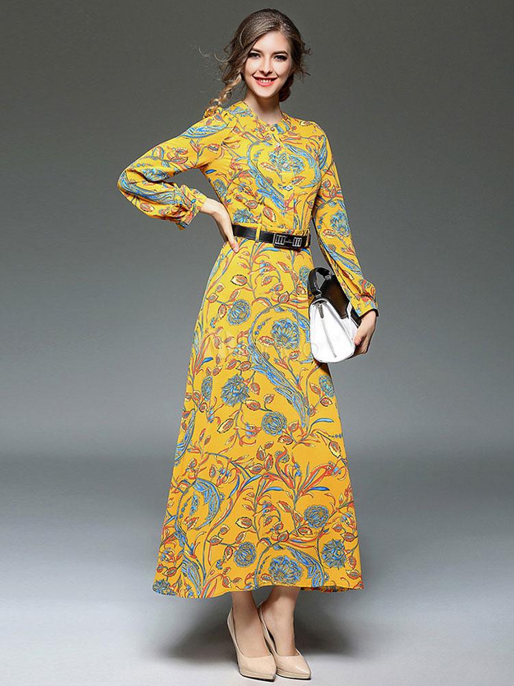 6736f45ad67 Chiffon Maxi Dress Yellow Round Neck Long Sleeve Printed Long Dress With  Belt-No.