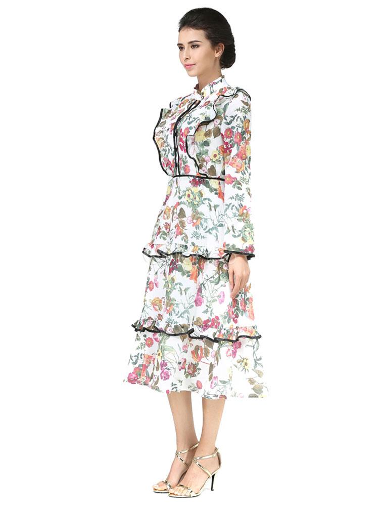 8cd618120aea ... White Skater Dress Layered Ruffles Floral Print Long Sleeve High Waist  Vintage Chiffon Dress-No ...