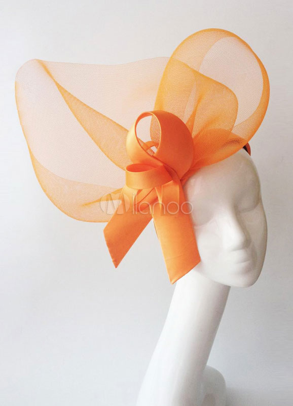 Royal Wedding Fascinator Headband Neon Orange Tulle Bridal Glamour Hair Accessories