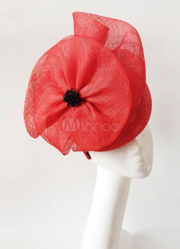 Wedding Fascinator Headband Gorgeous Red Tulle Bridal Headpieces