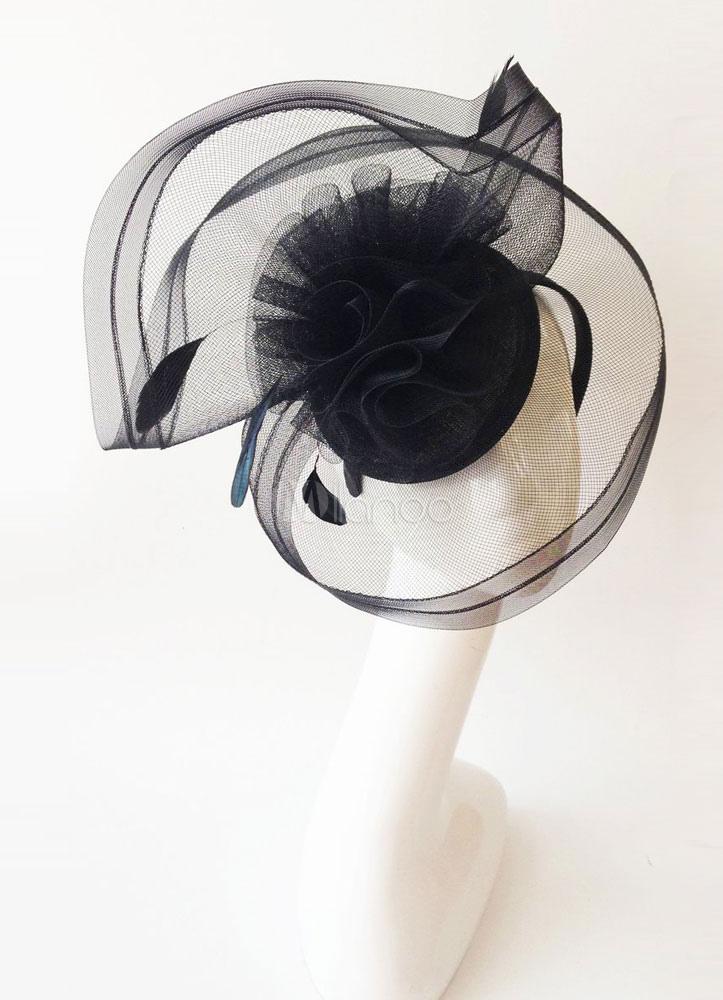 Royal Wedding Fascinator Headband Black Tulle Feather Bridal Headpieces