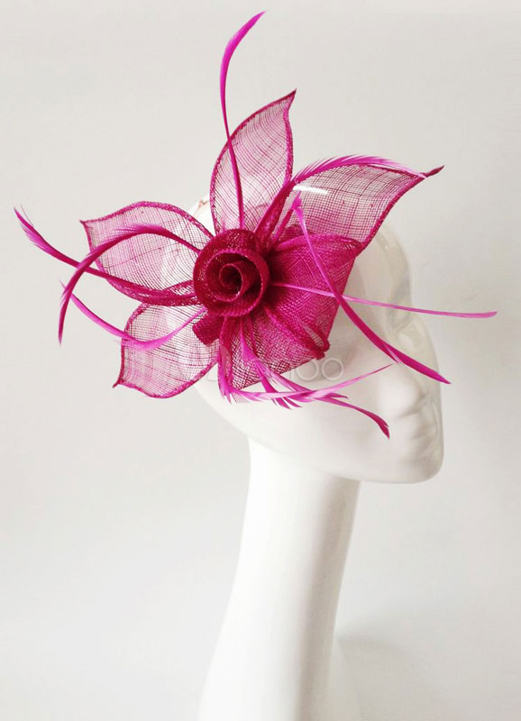Purple Wedding Fascinator Headpieces Clip Tulle Feather Flower Bridal Hair Accessories