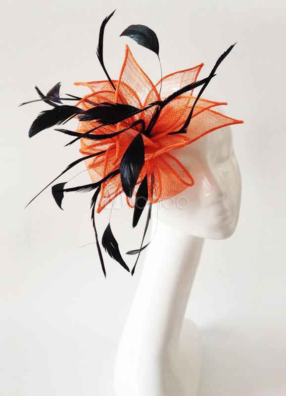 Buy Royal Wedding Fascinator Headband Orange Tulle Feather Bridal Headpieces for $19.99 in Milanoo store