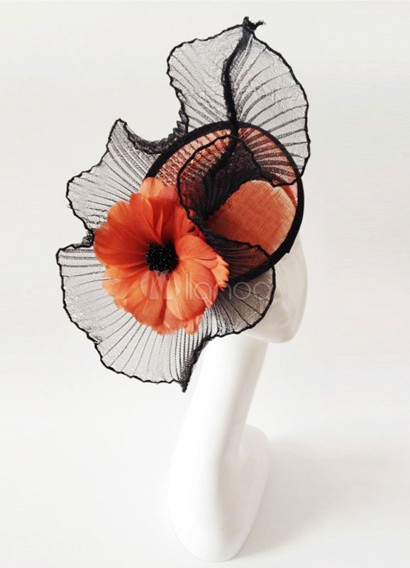 Wedding Fascinator Headband Black Tulle Glamour Bridal Head Flower