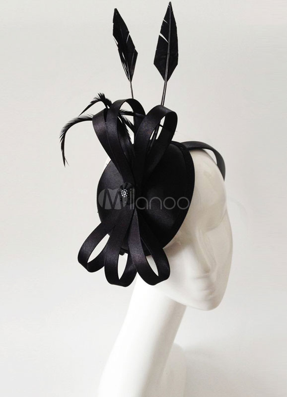 Buy Royal Wedding Headband Black Feather Bowknot Bridal Headpieces for $19.99 in Milanoo store