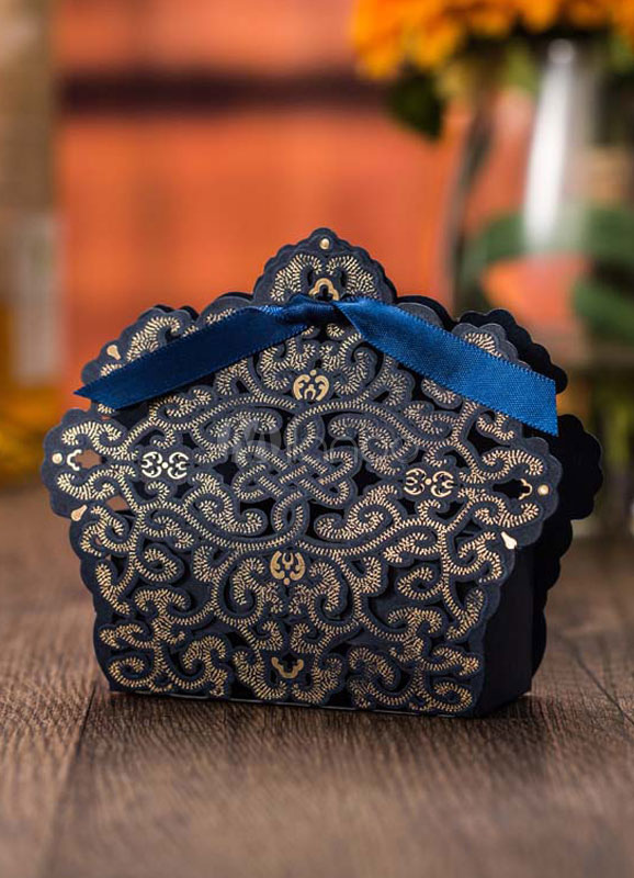 Wedding Favor Box Deep Blue Cut Out Ribbon Knot Small Gift Box