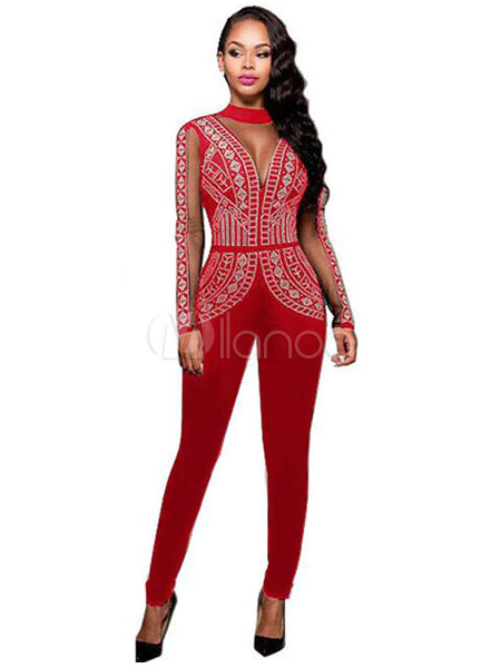 Skinny Red Jumpsuit Beaded Womens Illusion Long Sleeve High Collar