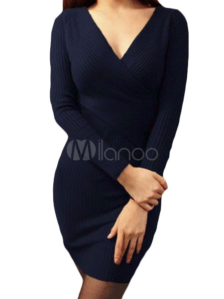 Women's Sweater Dress Dark Navy V Neck Long Sleeve Slim Fit Knit Bodycon Dress Cheap clothes, free shipping worldwide