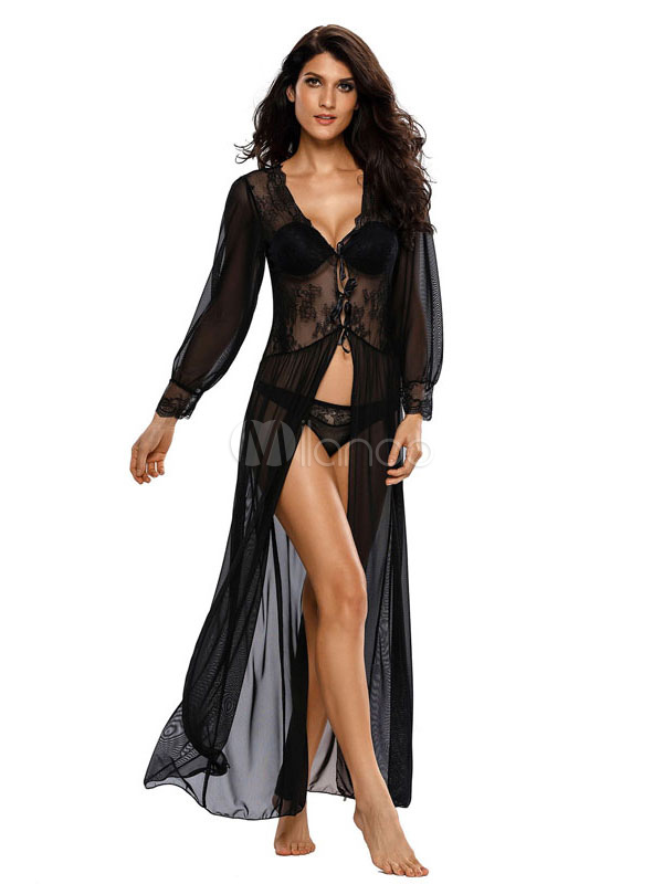 Buy Maxi Sexy Robe Black Long Sleeve Semi Sheer Women's Lace Patchwork Long Night Gown for $17.99 in Milanoo store