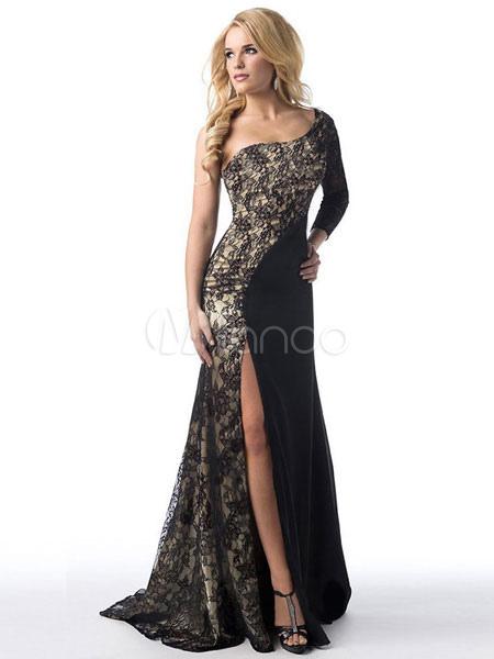 44b3897f47d5 Piano lunghezza abito lungo maxi abito nero pizzo Patchwork One spalla  manica lunga alta Split femminile ...