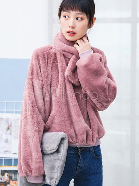 huge discount 0db00 669a6 Cappotto in pelliccia sintetica rosa collo alto manica lunga cappotto corto  donna con sciarpa