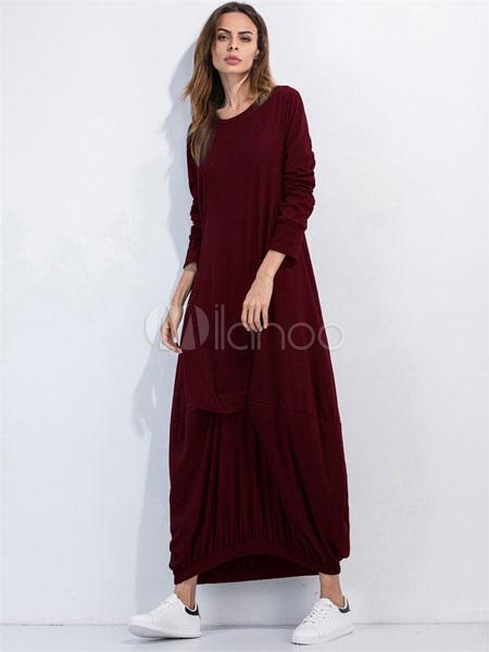 b4bb621b7d79 ... Maxi abito luce grigia giro collo manica lunga donna pieghe abito lungo  in cotone-No. 12