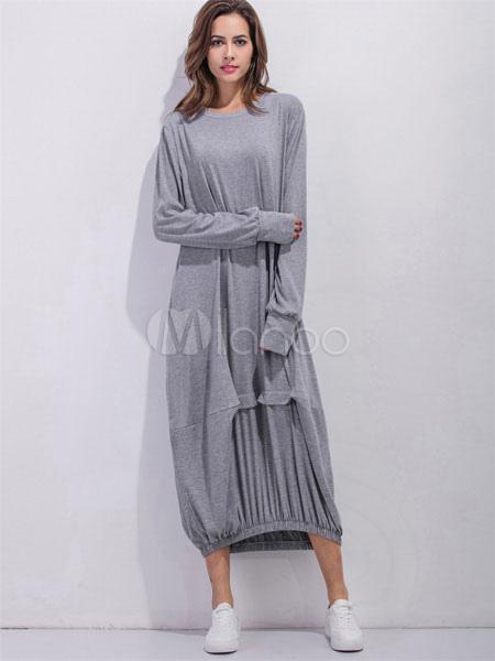 59da20ad1603 Maxi abito luce grigia giro collo manica lunga donna pieghe abito lungo in  cotone-No ...