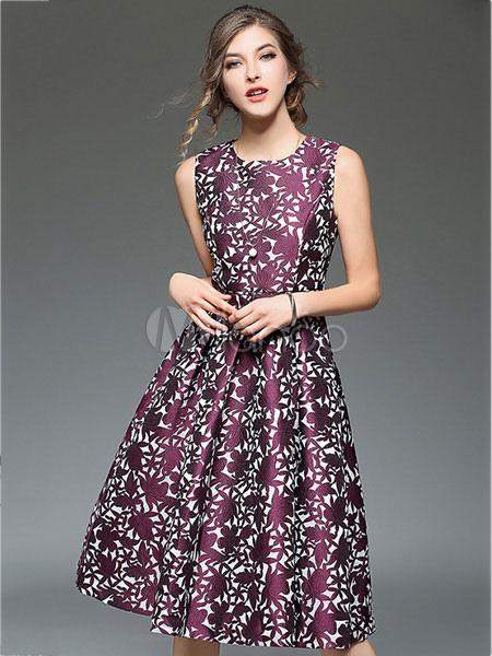 1f3ac9749 Vestido plisado de poliéster morado con escote redondo sin mangas con  estampado de flores estampado estilo ...
