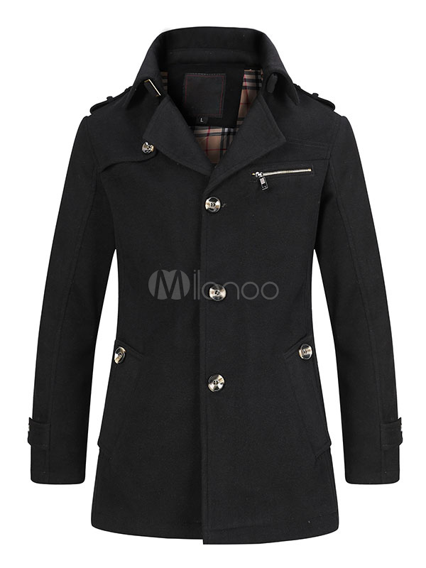 Black Trench Coat Men's Back Strap Long Sleeve Casual Coat And Jacket