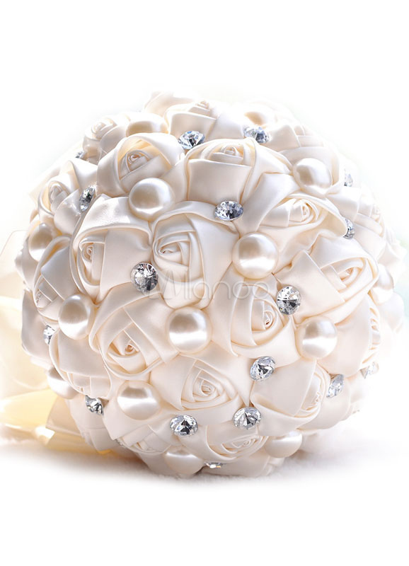 Wedding Flower Bouquet Ivory Satin Pearls Rhinestone Beaded Bridal Bouquet