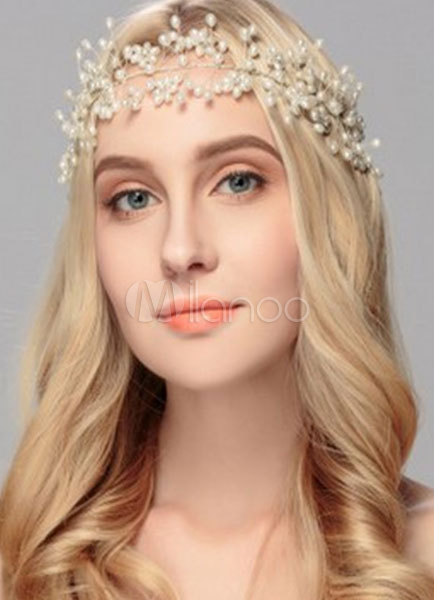 Pearls Wedding Headband Ecru White Lace Up Wedding Headpiece