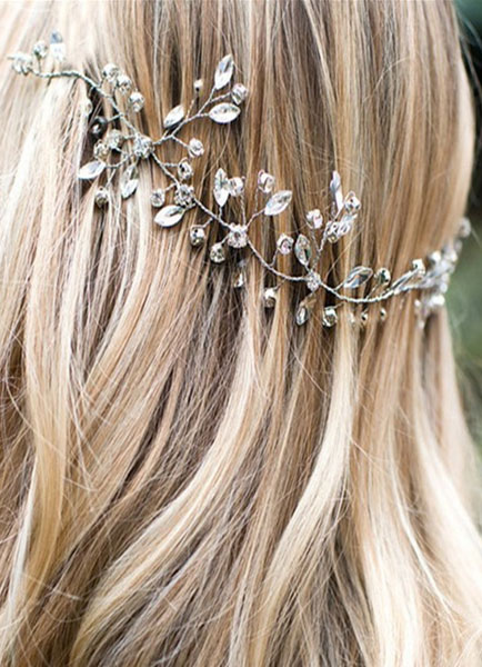 Boho Wedding Headpieces Silver Beach Headband Rhinestones Ribbon Bridal Hair Accessories