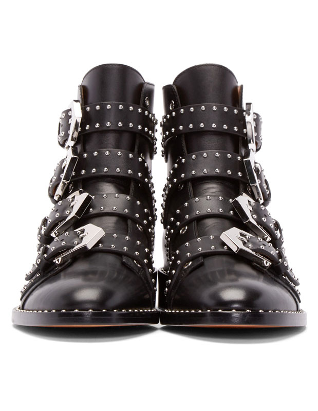 9592b72389cfa1 Black Ankle Boots Women Motorcycle Boots Cowhide Round Toe Rivets Buckle  Detail Booties-No.