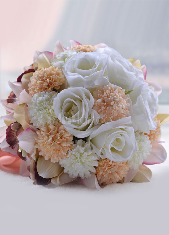 Buy Wedding Flower Bouquet Purple Hand Tied Silk Flowers Bridal Bouquet With Pearls Wrist Corsage for $34.99 in Milanoo store