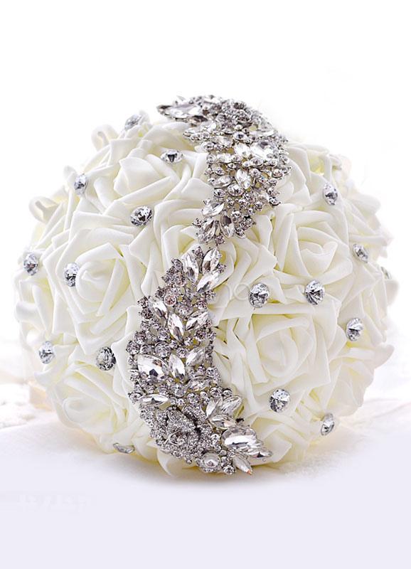 Wedding Flower Bouquet Rhinestones Beaded Silk Flowers Bridal Bouquet In White