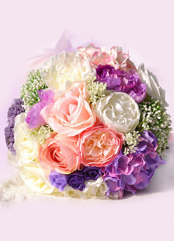 Buy Wedding Flower Bouquet Purple Ribbons Hand Tied Silk Flowers Bridal Bouquet for $27.89 in Milanoo store