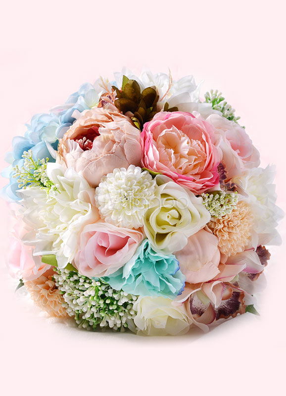 Buy Wedding Flower Bouquet Ribbons Hand Tied Silk Flowers Bridal Bouquet In Light Sky Blue for $29.99 in Milanoo store