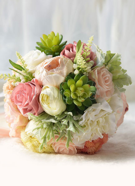 Buy Succulent Wedding Bouquet Silk Flowers Lace Ribbons Hand Tied Multicolor Bridal Bouquet for $42.29 in Milanoo store