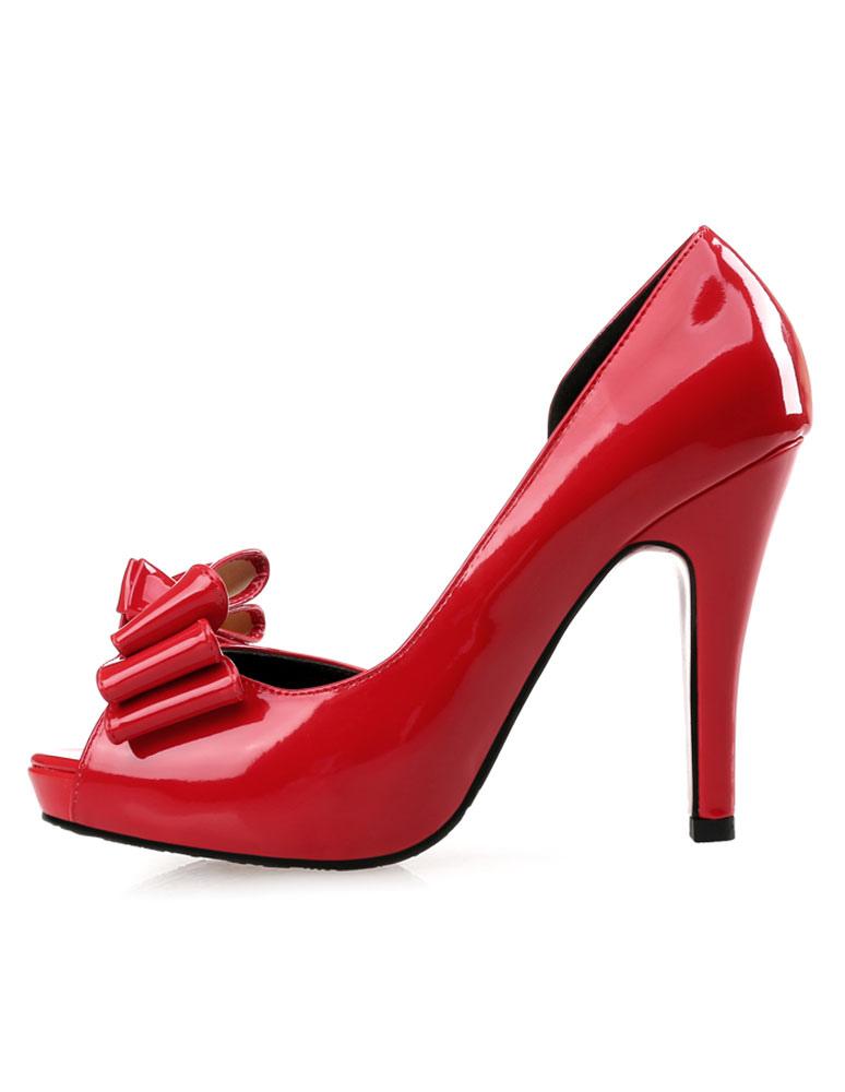 Zapatos Peep toe Charol PU color liso con lazo estilo moderno vMluT