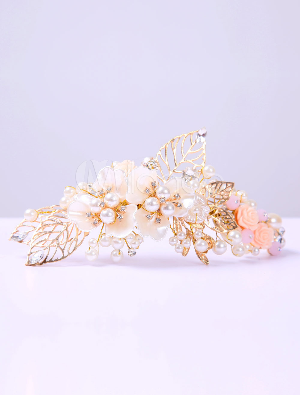 Vintage Wedding Headpieces Baroque Pearl Hair Jewelry Gold Rhinestone Leaf Bridal Headband