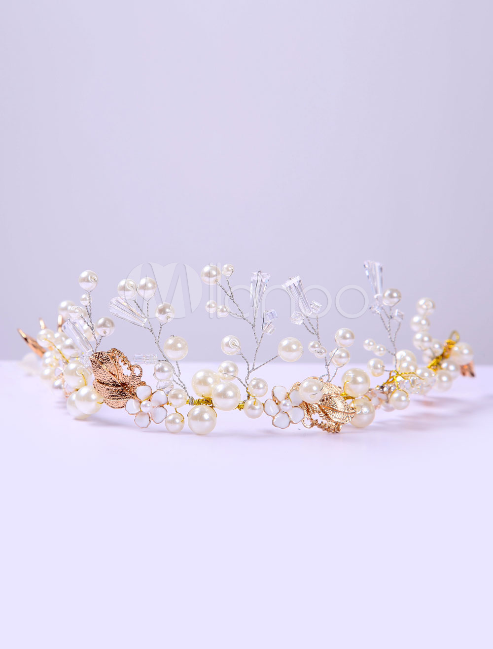 Buy Vintage Wedding Headband Gold Pearls Rhinestone Bridal Headpiece for $14.99 in Milanoo store