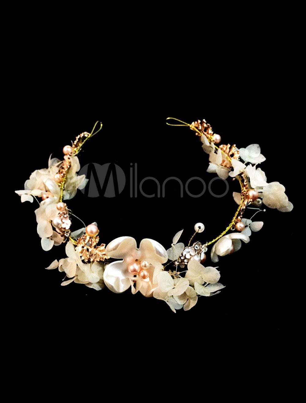 Wedding Flower Crown Gold Pearl Rhinestone Bridal Headpieces