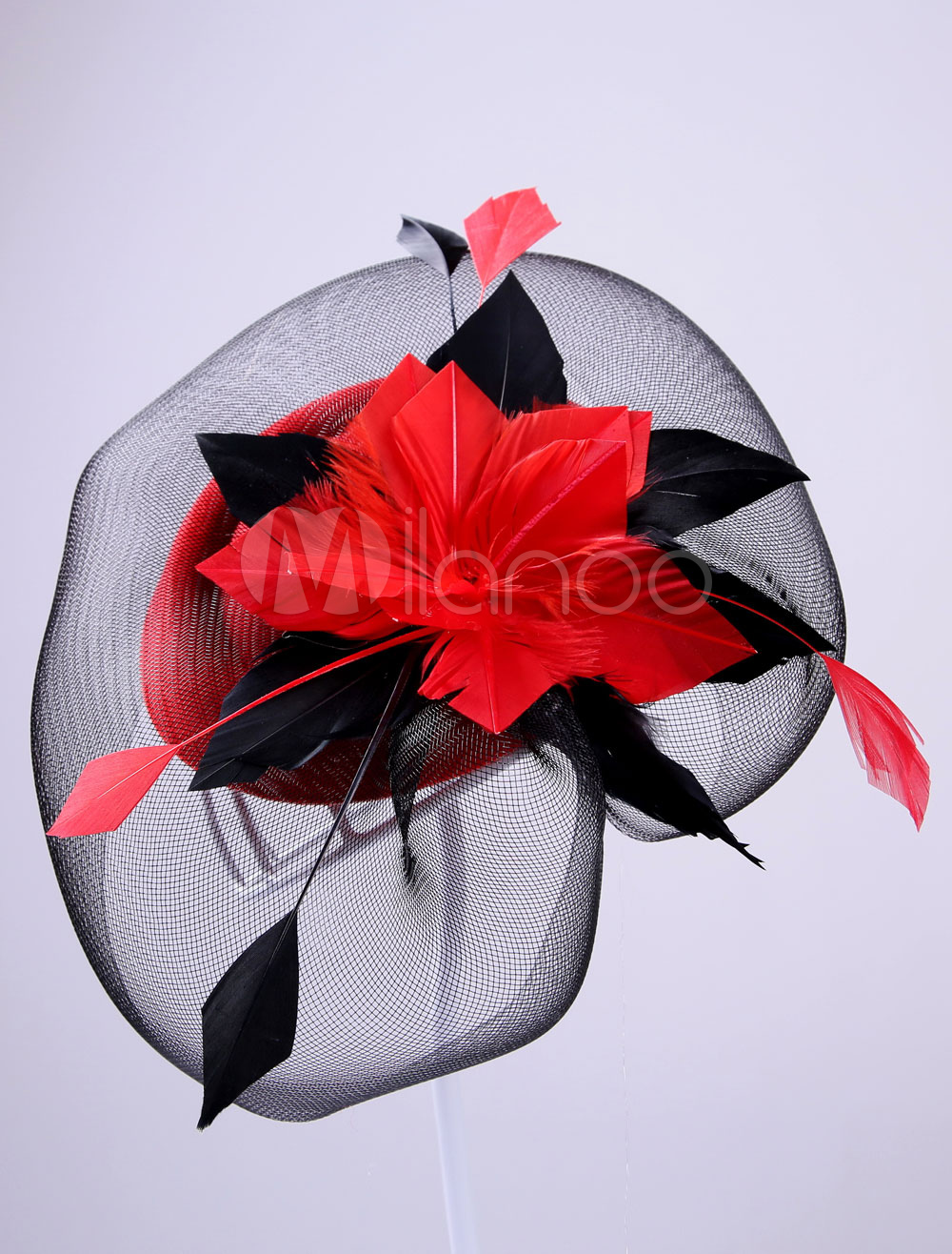 Buy Black Wedding Headpieces Royal Tulle Feather Flower Shape Fascinator Bridal Birdcage Veil for $14.99 in Milanoo store