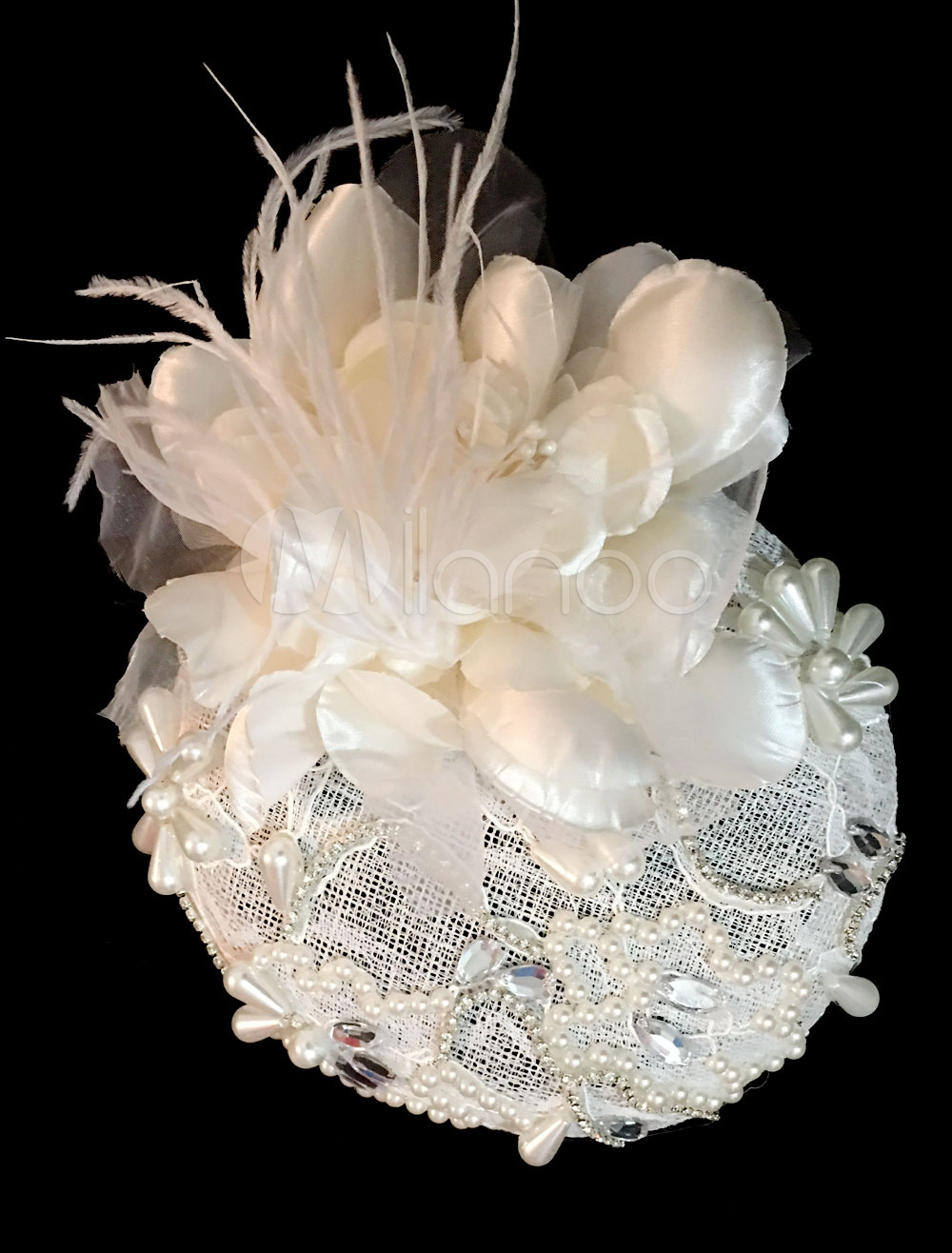Royal Wedding Headpieces Lace Pearl Bridal Hat Cocktail Hair Accessories