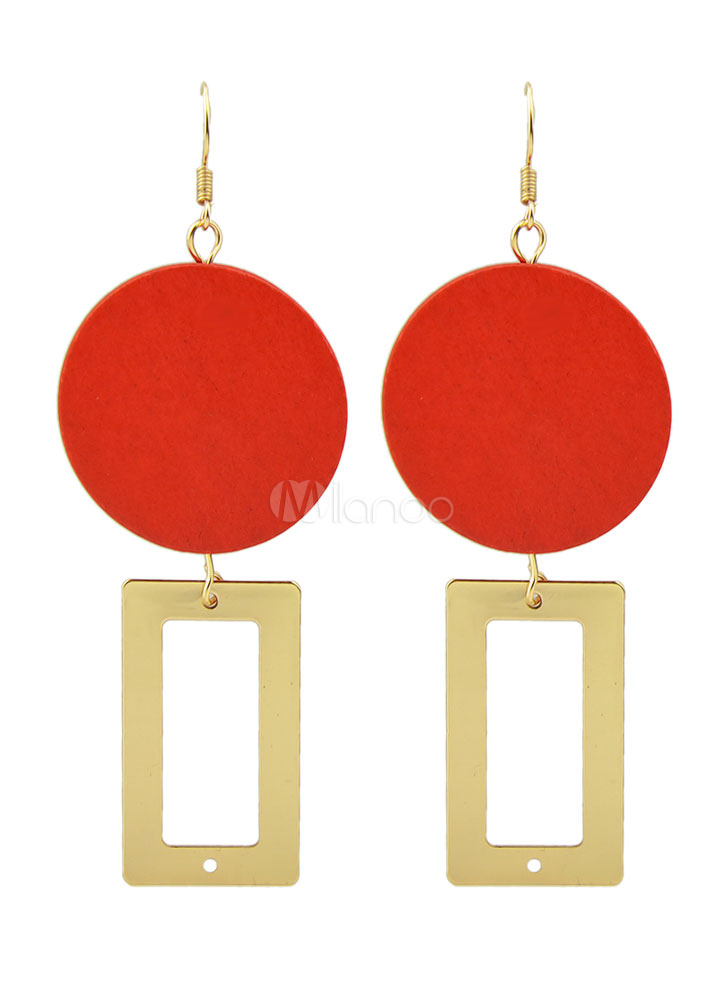 Buy Gold Square Dangle Earrings Red Circle Pierced Hook Earrings for $2.54 in Milanoo store