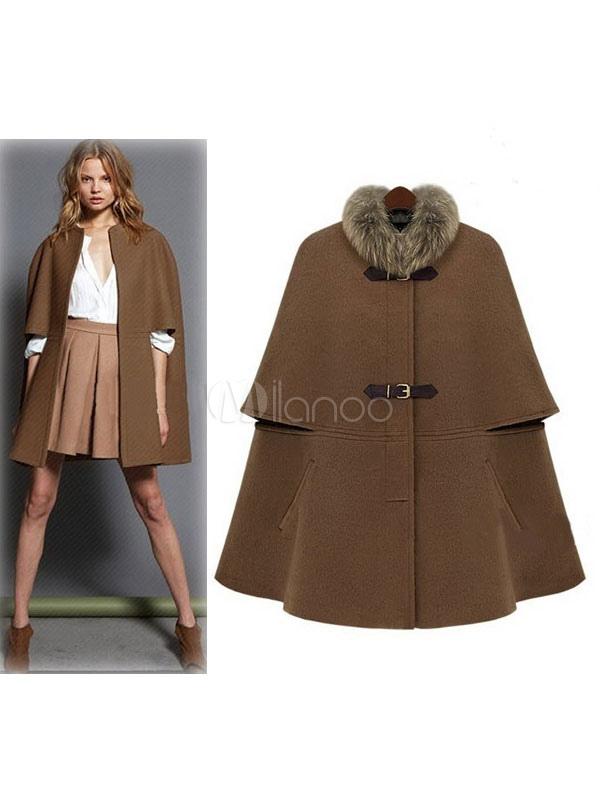Women's Cape Coat Faux Fur Collar Camel Woolen Buckle Up Oversized Coat
