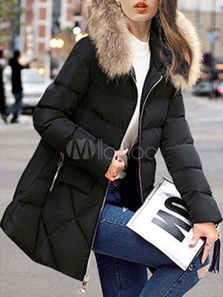 Women Puffer Jacket Black Faux Fur Hooded Zip Up Quilted Jacket